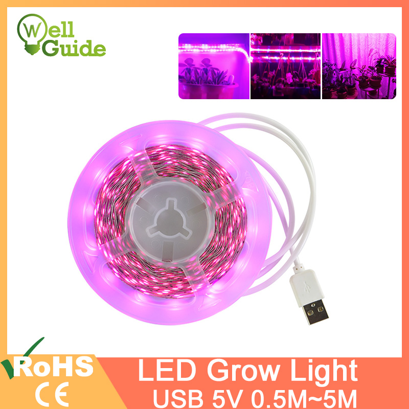 LED Strip LED Grow Light 1m2m 3m 4m 5m Full Spectrum USB 5V SMD 2835 Chip LED Phyto Lamp For Greenhouse Hydroponic Plant Growing