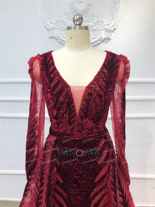 Image 4 - Robe de soirée en cristal bordeaux, manches longues, perles, fait à la main, robe de bal en velours, dubaï, modèle 2020