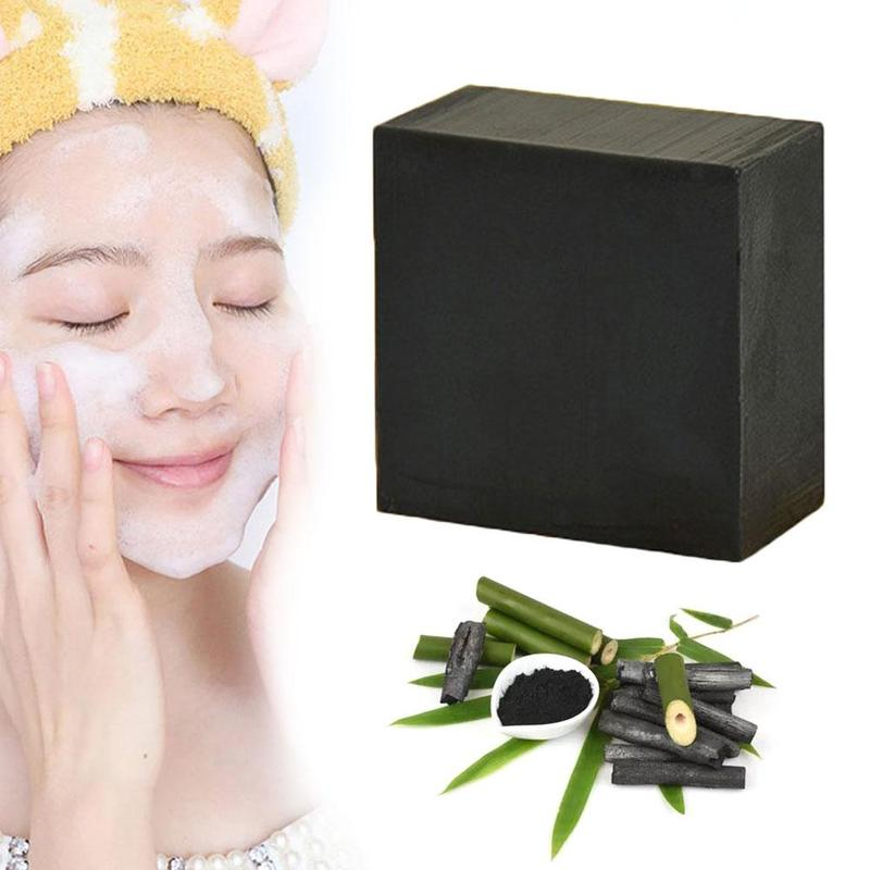 Black Bamboo Charcoal Handmade Soap Facial Clean Deep Clean Whitening Maquiagem Handmade Skin Care Bath Body Removal Oil Beauty