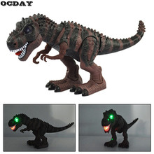 OCDAY 1pc Electric Toy Large Size Walking Dinosaur Robot With Light Sound Tyrannosaurus Rex Model Figure Toys For Children Gift in stock toy genuine version movie 4 leader class dinobots robot dinosaur tyrannosaurus grimlock with retail box