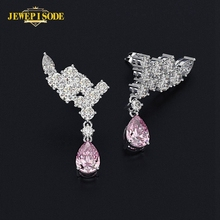Jewepisode Specail Wing Shape Wedding Engagement Drop Earrings for Women Real 925 Sterling Silver Fine Jewelry Birthday Gifts