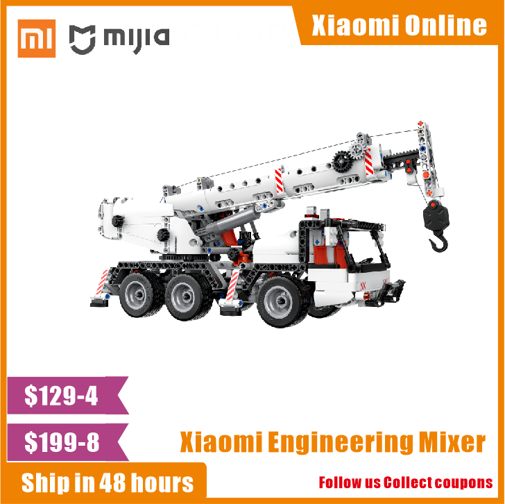 Xiaomi Mi Mitu Building Blocks Engineering Crane Rotating 360 Degree Console Lifting Telescopic Boom Kids DIY Car Toys bricksdiy(China)