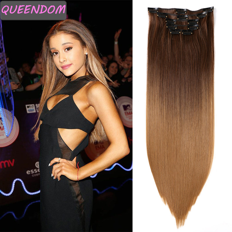 22 Inch Chip In Hair Extensions Ombre Long Straight Natural False Hair Synthetic Heat Resistant Brown Black Hairpieces Fake Hair