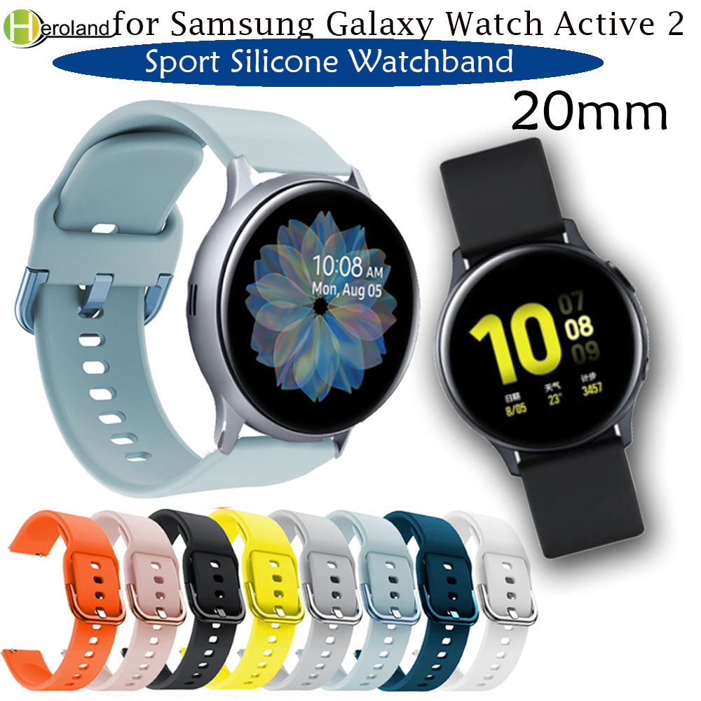 20mm Watch strap for Samsung Galaxy Watch Active 2 40/44mm Sport silicone Smart Wristbands for Samsung Gear S2 Classic 732 strap|Watchbands| |  - title=