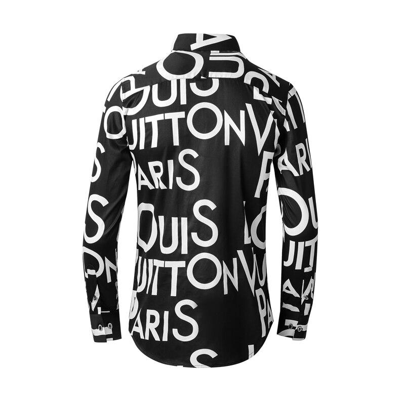 Big Letters Print Shirt men Long sleeve Slim Chemsie homme Brand Business Pure Cotton male dress Shirts Plus size M-4XL Camisas 5