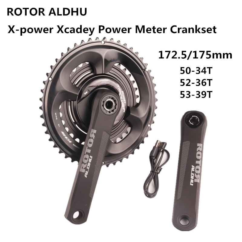 ROTOR ALDHU X-Power Xcadey Power Meter Crankset With <font><b>Shimano</b></font> <font><b>105</b></font> R7000 110BCD 50-34T 52-36T 53-39T Crown Suitable For Road Bike image
