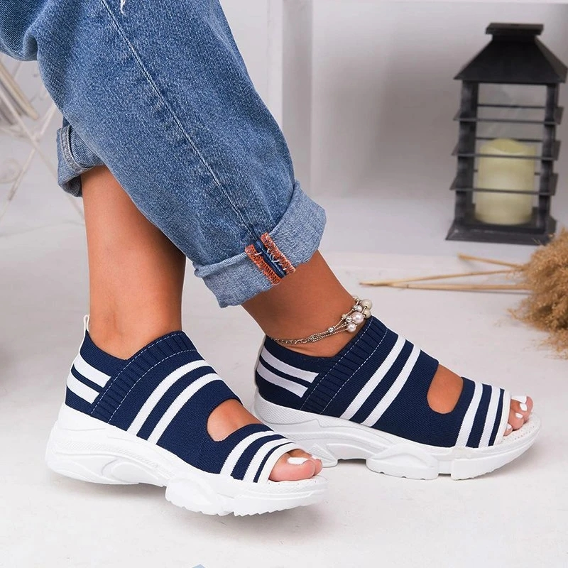 New Women Summer Vulcanize Shoes Striped Thick Bottom Sports Fish Mouth Shoes Casual Slip On Ladies Plus Size Shoes Sneakers