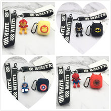 Iron Man Capitán América Batman Spider-Man Cosplay muñeca llavero silicona funda Apple Airpods cubierta suave(China)