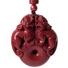 Drop Shipping Natural Cinnabar Pendant Lucky Amulet Jade Safety Button Brave Troops Necklace For Woman Men Fine Jewelry Gifts drop shipping natural cinnabar pendant lucky amulet jade safety button brave troops necklace for woman men fine jewelry gifts