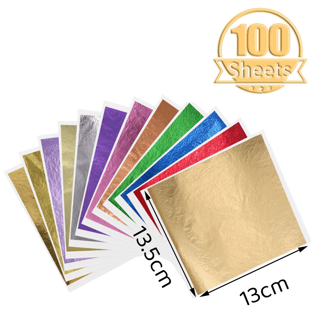 100Pcs Colored Gold Leaf Sheets Gold Foil Glitter Paper Arts Crafts Gilding Furniture Nail Vintage Decoration DIY Painting Potal
