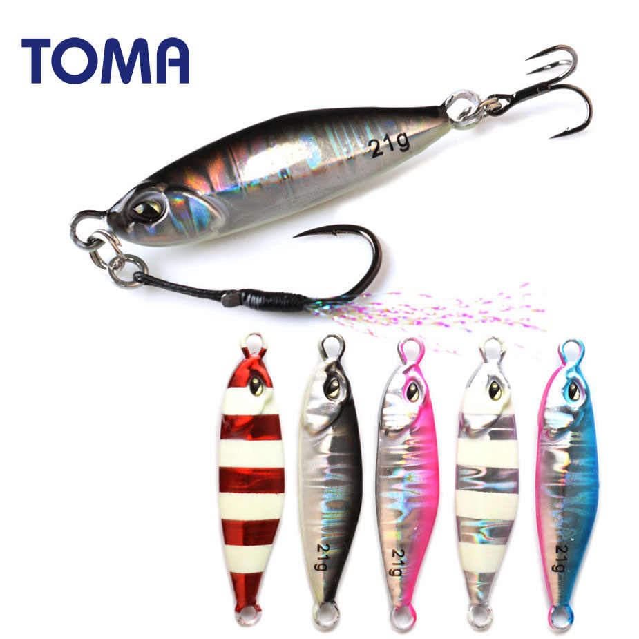 TOMA Lead Metal Luminous Jig 10g 14g 21g Saltwater Suspending Slow Micro Fishing Jigging Spoon Lure with 2 Hooks Tackle