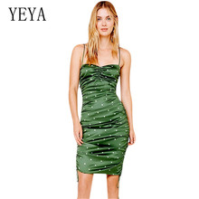 YEYA New Satin Drawstring Pleated Green Wave Point Dress Women Casual Summer Sleeveless Hollow Out Sexy Spaghetti Straps