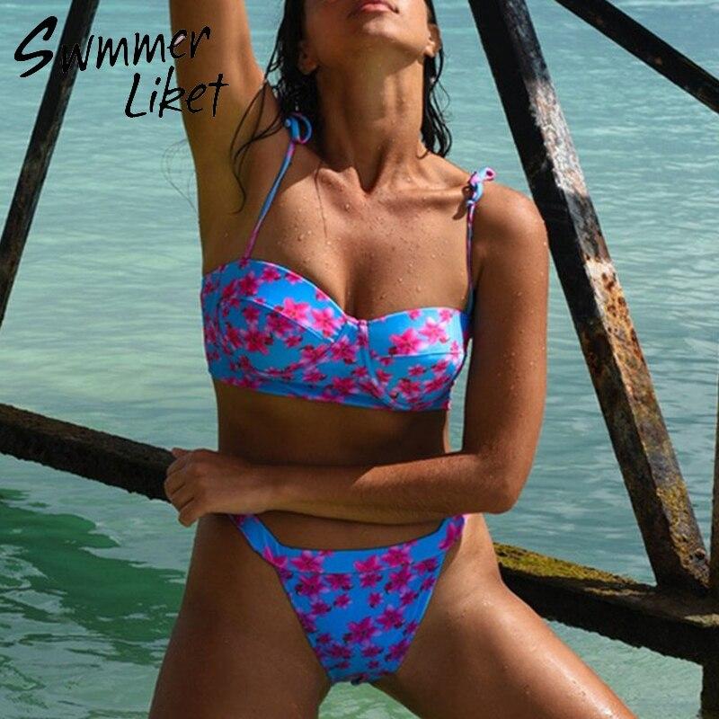 Vintage Push Up Bikini Set 2020 Floral Print Bathing Suit High Waist Swimsuit Female High Cut Swimwear Women Summer Bathers New
