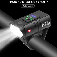 T6 LED 자전거 라이트 10W 6 모드 USB 충전식 전원 디스플레이 MTB 산악 자전거 자전거 프론트 램프 사이클링 장비 손전등
