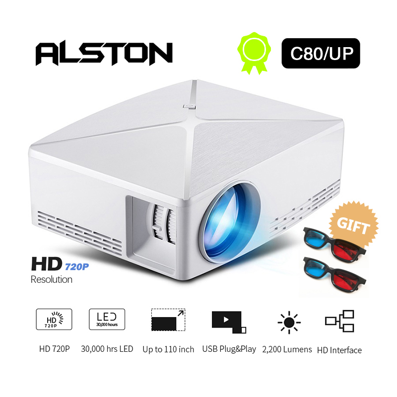 Image 2 - ALSTON HD MINI Projector C80/C80UP, 1280x720 Resolution, Android WIFI Proyector, LED Portable HD Beamer for Home Cinema-in LCD Projectors from Consumer Electronics