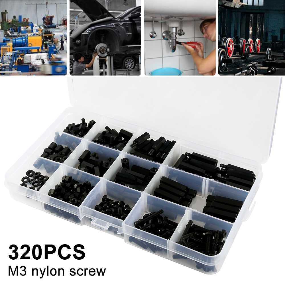 320Pcs/set M3*L+6mm Black Spacing Screw Plastic For PCB Motherboard Fixed Nylon Standoff Spacer Assorted Kit