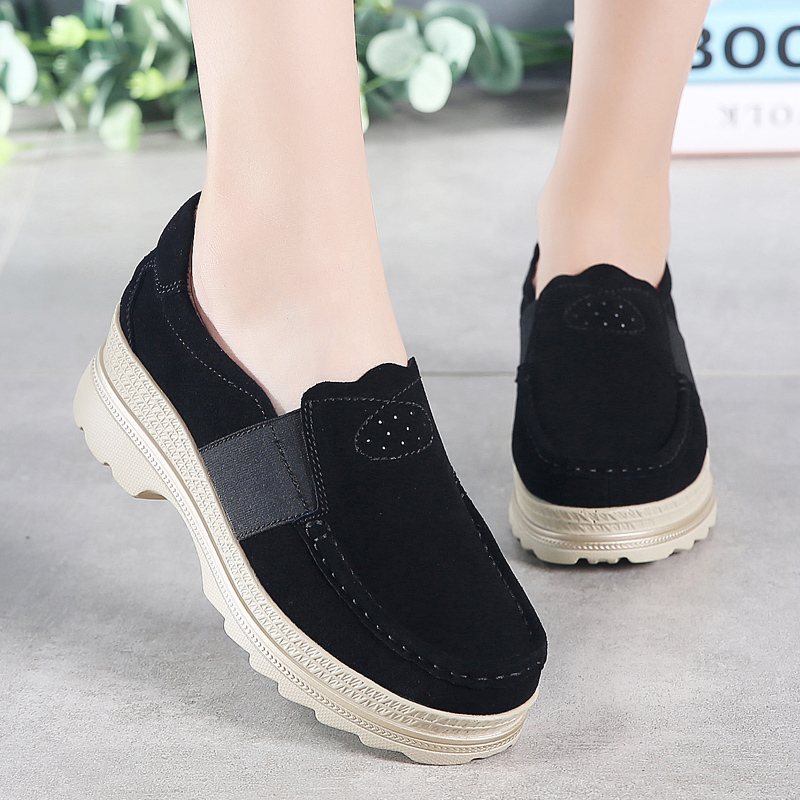 Image 4 - STQ 2020 Autumn Women Platform Sneakers Shoes Oxford Shoes For Women Slip On Loafers Shoes Casual Flat Sneakers Shoes 5068Womens Flats   -