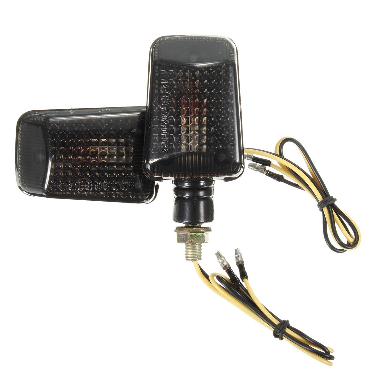 2PCS Black 12V 10W MINI Universal Motorcycle Motorbike Turn Signal Indicators Lights Blinker Amber Lamp
