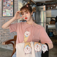 Summer Korean-style Cute Cat Short Sleeve T-shirt Women's Tennis Red And White INS Tops T-shirt Loose-Fit Half Sleeve Base Shirt
