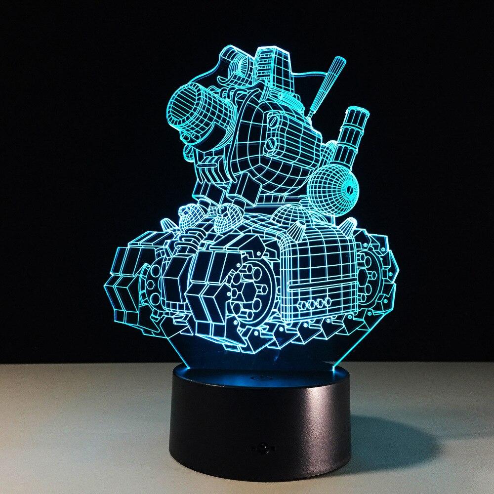 3D wizualne illusion Cartoon zbiornik lampy przezroczyste akrylowe światło nocne LED fairy Lampa kolory zmieniające się stół dotykowy Bulbing światła
