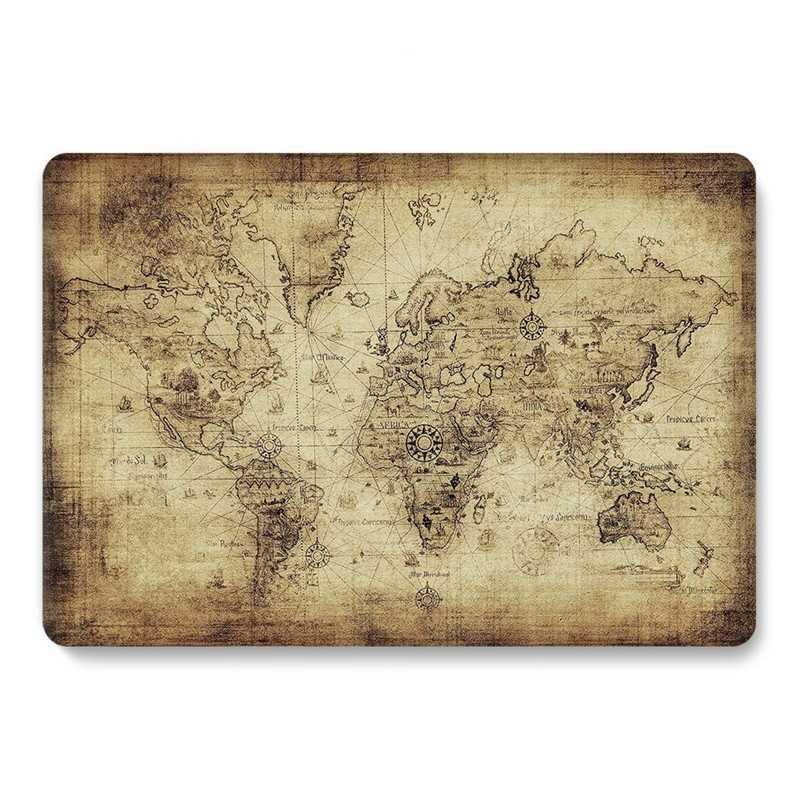 2020 Macbook Air 13 inç için mat şeffaf Glitter sevimli dünya haritası Laptop kapak için Macbook Air 13 için kılıf 2020 A2179 A1932 2018