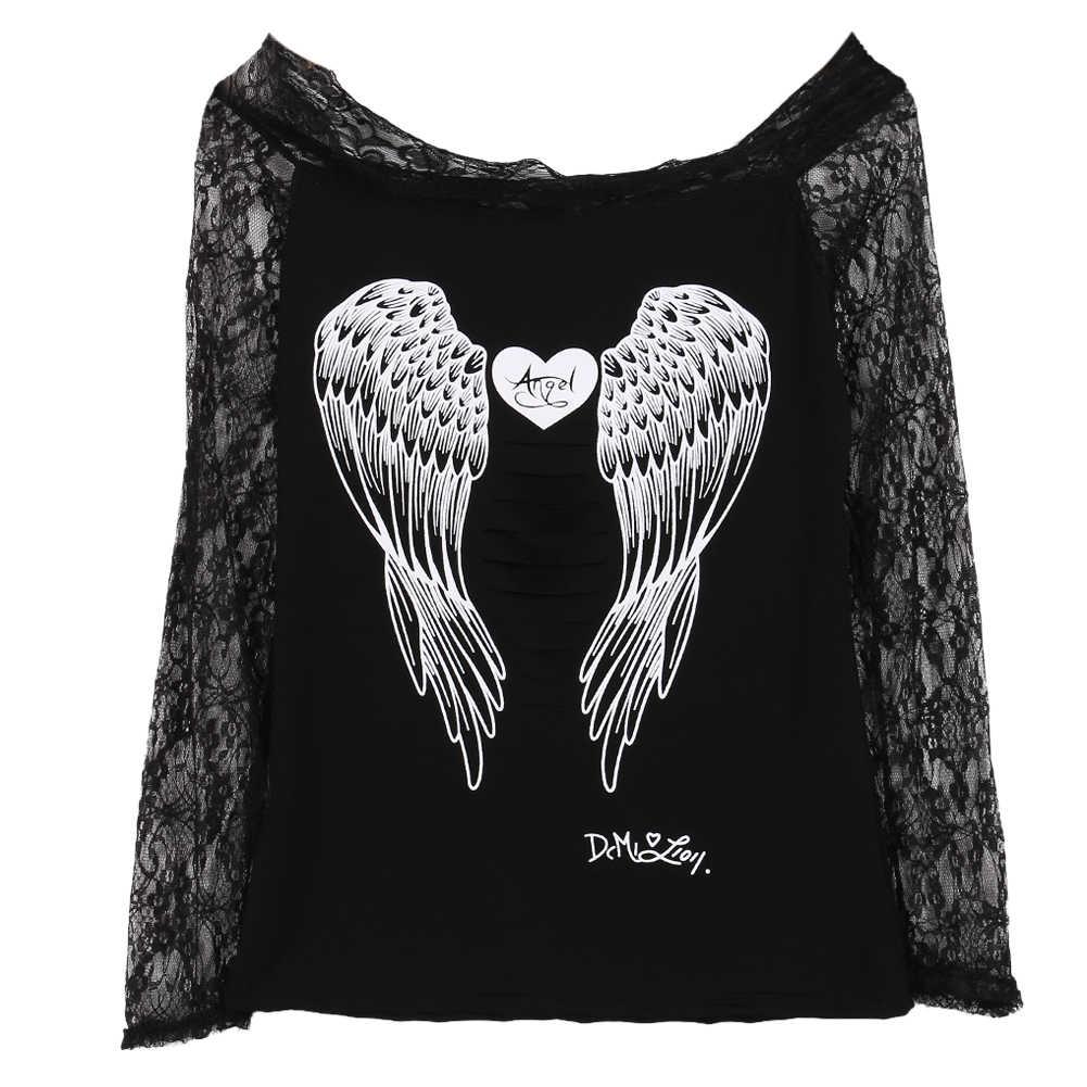 Blusa de malla transparente de manga larga para mujer camisa negra con estampado de alas bordadas blusas sexis de verano para mujer