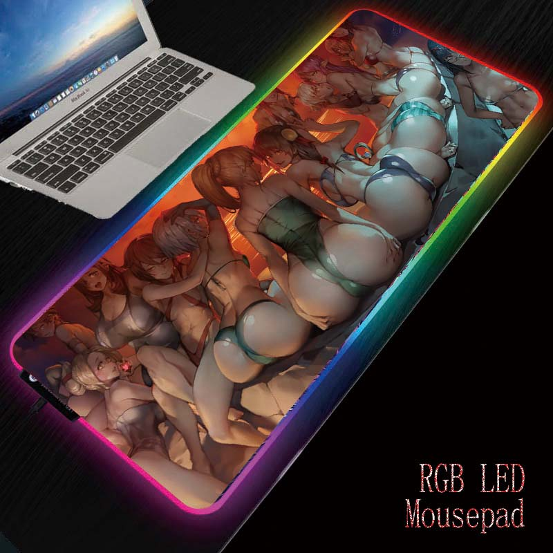 MRGBEST  Anime Sexy Girl Ass Gaming RGB Large Mouse Pad Computer Mousepad Led Backlight XXL Surface Mause Pad Keyboard Desk Mat