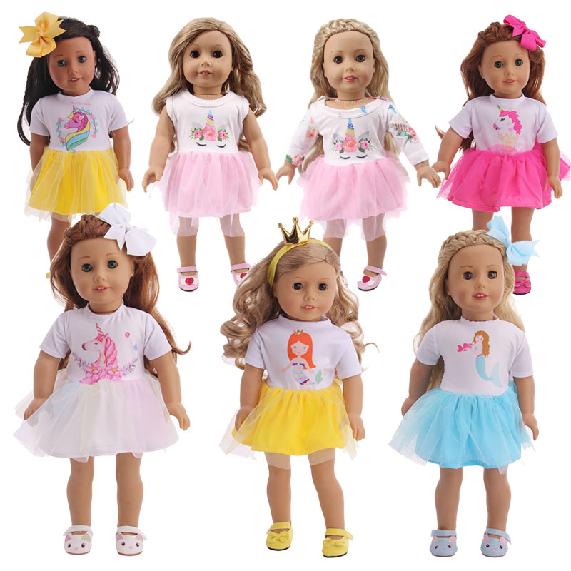 Doll Unicorn Mermaid Clothes Fashion Dress Fit 18 Inch American&43 CM Born Baby Our Generation Christmas Birthday Girl's Gift