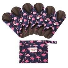 6+ 1 комплект тканевые гигиенические менструальные прокладки многоразовые моющиеся Mama менструальные прокладки бамбуковая хлопковая ткань для женской гигиены