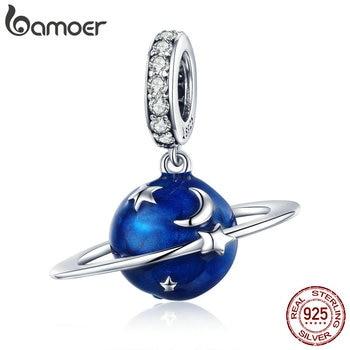 BAMOER 925 Sterling Silver Secret Planet Moon Star Pendant Blue Enamel Charms Fit Charm Bracelets Necklace Silver Jewelry SCC933