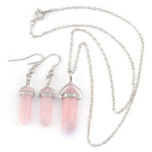 FYJS Unique Female Jewelry Sets Silver Plated Small Hexagon Column Necklace Natural Rose Pink Quartz Earrings