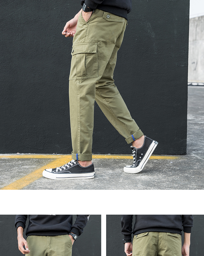 KSTUN Cargo Pants Men Straight Fit 100% Cotton Overalls Mens Trousers Casual Pants High Quality Men's Clothing Multi-Pockets 15