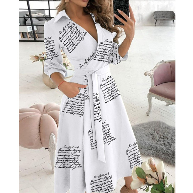 New Fashion Women Casual V Neck Long Dresses Chic Geo Pattern Graphic Print Pocket Design Wrap Dress 4