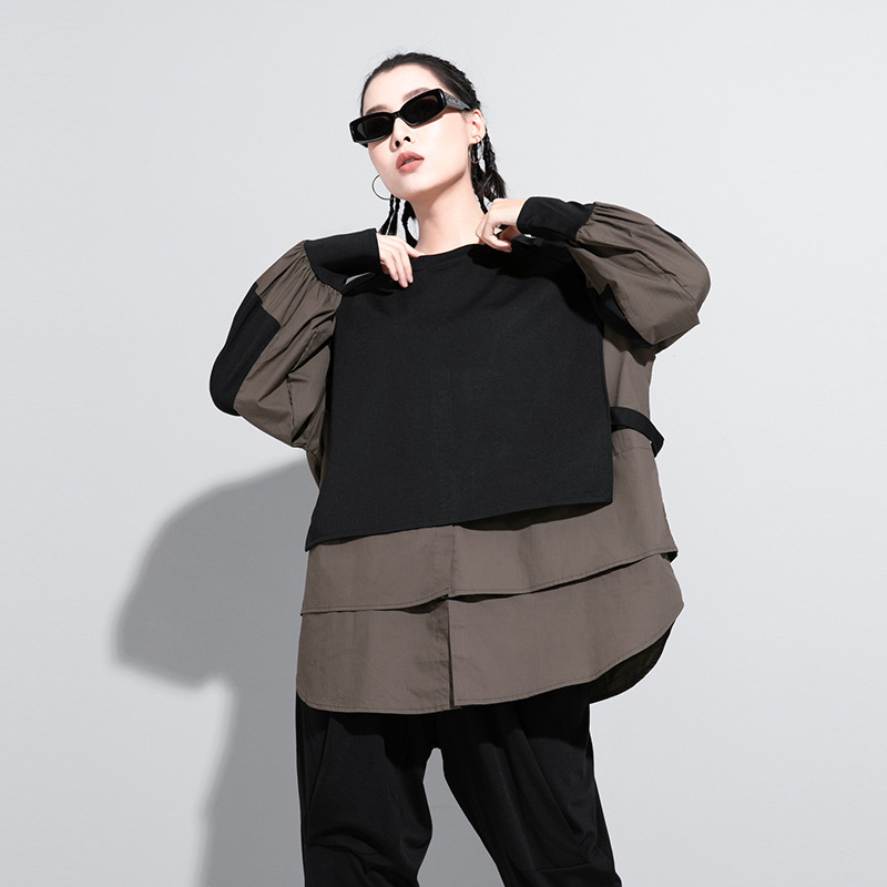 [EAM] Women Army Green Irregular Split Joint Big Size T-shirt New Round Neck Long Sleeve  Fashion Spring Autumn 2020 1DA608 5