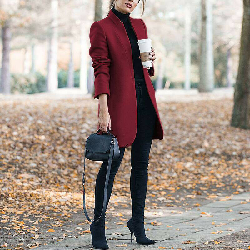 Fall/winter 2019 New Fashion Solid Color Collar Wool Coat Turtleneck  Open Stitch Long Length Khaki Grey Burgundy Coat