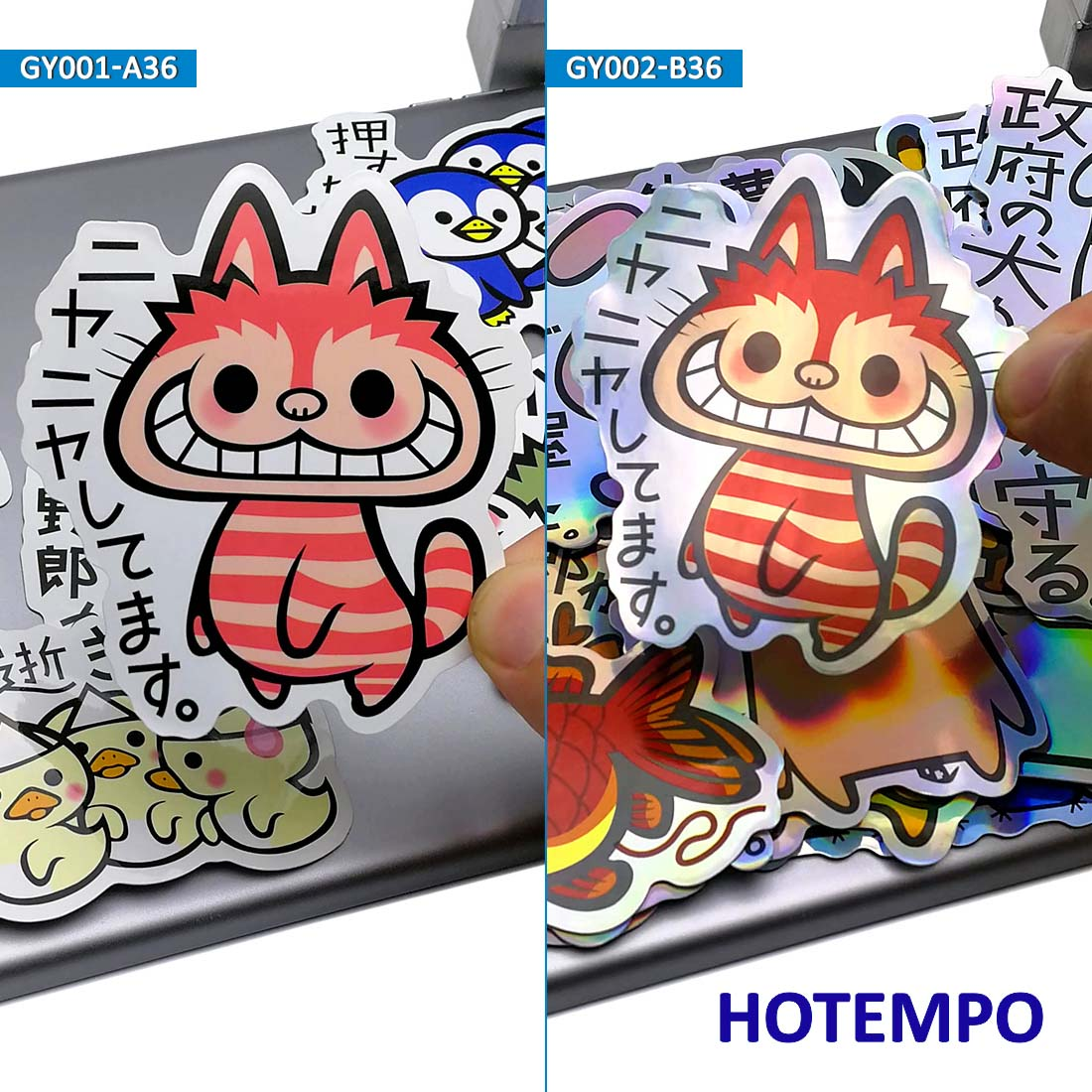 36pcs Cute Cartoon Slogan Animal Style Stickers Colorful Laser for Child Kid Gift Phone Laptop Luggage Suitcase Stationery Decal