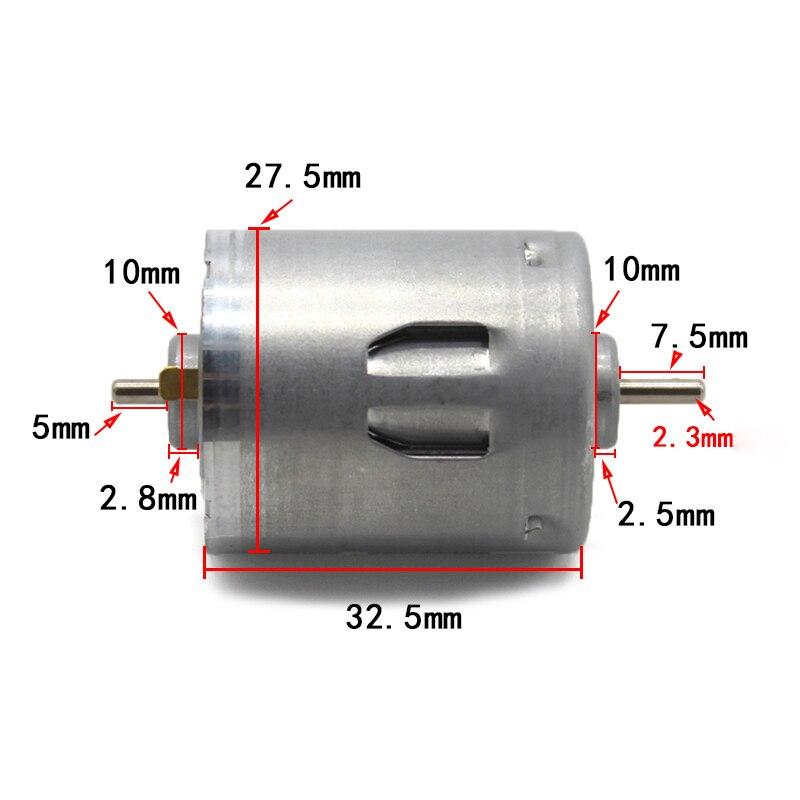 DC 3V 6V 12V 7500RPM Dual Shaft Small RS-395 Carbon Brush Motor DIY Model Toy