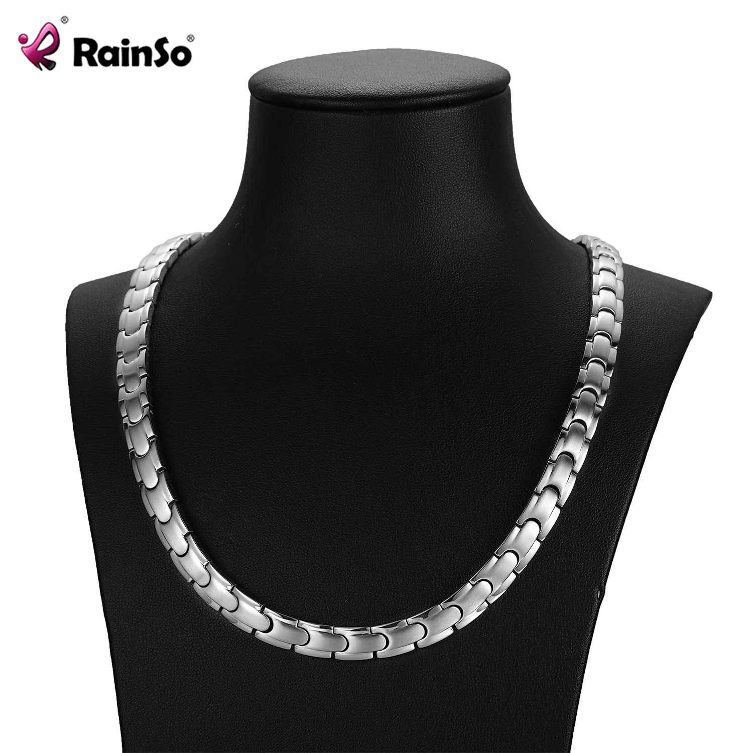 RainSo Sliver Link Chain Stainless Steel Necklaces Health For Arthritis FIR Bio Energy Healing Power Necklace Women For Lovers