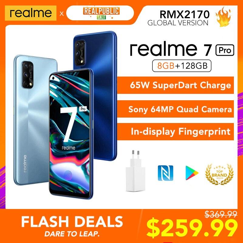 Realme 7 Pro Global Versie 8Gb Ram 128Gb Rom 65W Superdart Lading 64MP Quad Camera Amoled Fullscreen in-Display Vingerafdruk Nieuwe