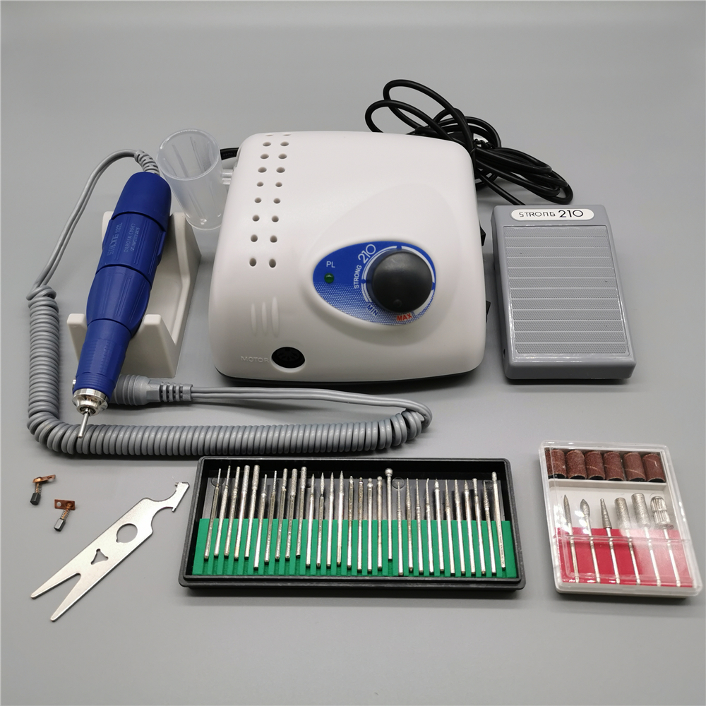 65W 35000RPM Electric Nail Drill Machine Strong 210 Model 102L Handpiece Manicure Pedicure Nail File Bits Nail Art Equipment