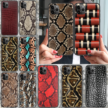 Snake skin leather Phone case For iphone 4 4s 5 5S SE 5C 6 6S 7 8 plus X XS XR 11 PRO MAX 2020 black hoesjes tpu Etui trend image