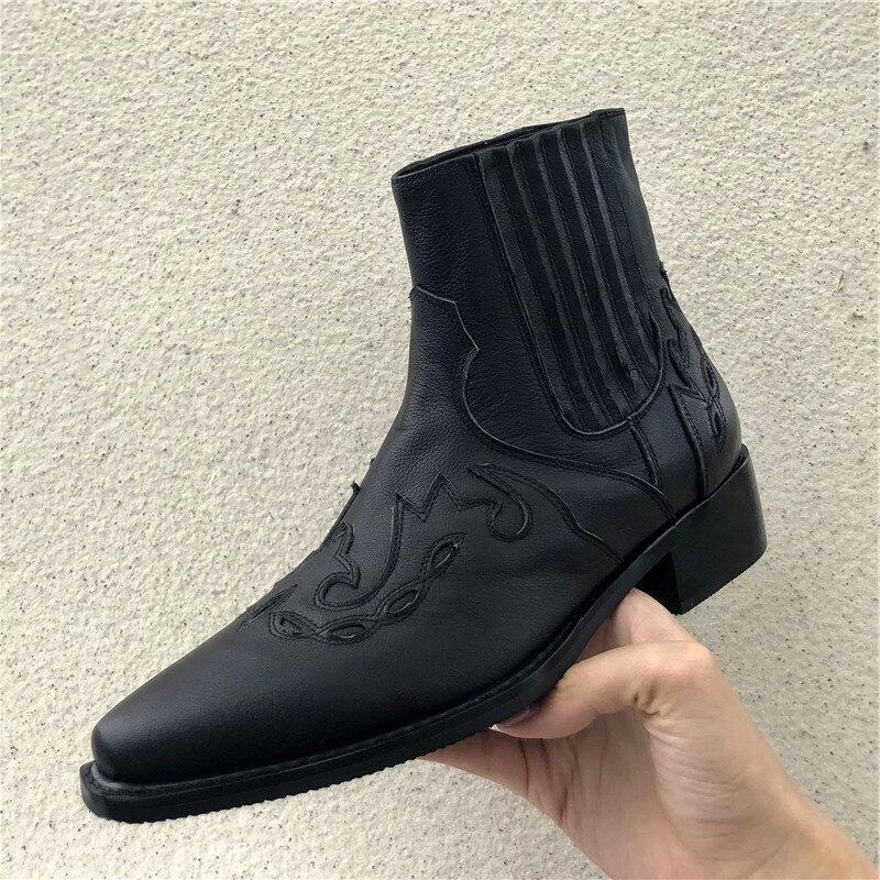 Прошитая Мужская безопасная обувь без застежки; рабочие ботинки из натуральной кожи; мужские ковбойские ботинки с острым носком; модная мужская зимняя обувь