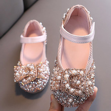 Princess Shoes Pearl Rhinestones-Shining Wedding-D487 Party Baby-Girls Kids New for And