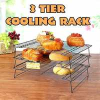 3 Tier Baking Cooling Rack Stainless Steel Nonstick Cooling Rack Folding Grid Baking Tray Biscuit Cookie Bread Cake Baking Tool