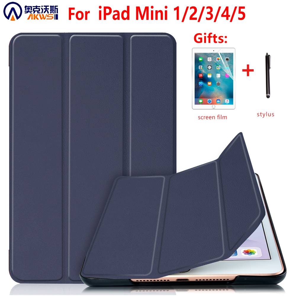 Cover Case For IPad Mini 1 2 3 PU Leather Silicone Tablet Case For IPad Mini 4 5 2019 Tri-fold Stand Sleep Smart Cover Case