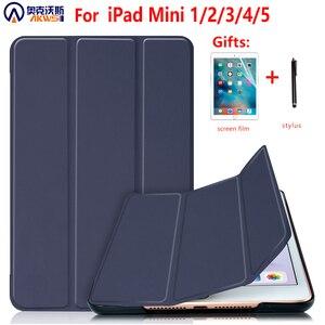 Image 1 - For iPad Mini 4 5 2019 Case with Pencil Holder, for iPad Mini 1 2 3 Silicone Cover, Stand PU Leather Funda Auto Sleep  Capa