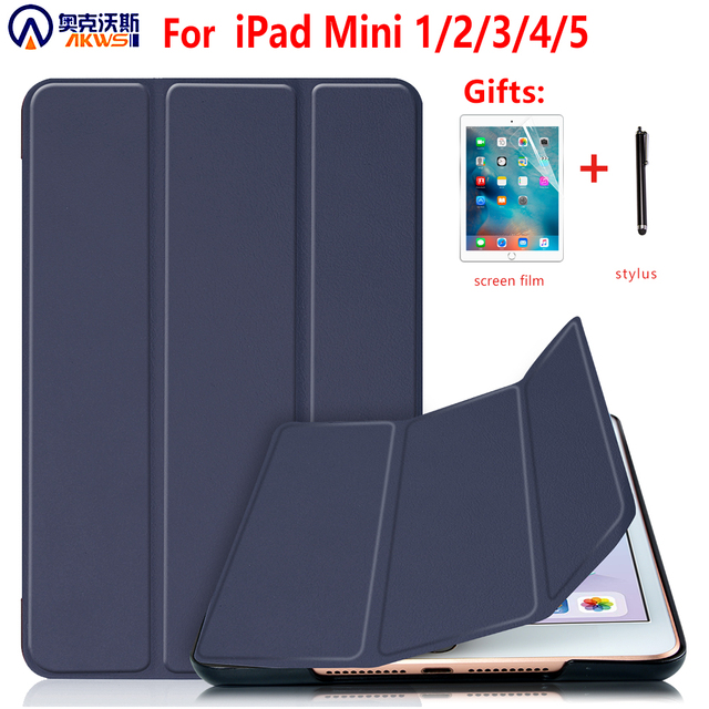 Voor Ipad Mini 4 5 2019 Case Met Potlood Houder, Voor Ipad Mini 1 2 3 Siliconen Cover, stand Pu Leather Funda Auto Sleep Capa