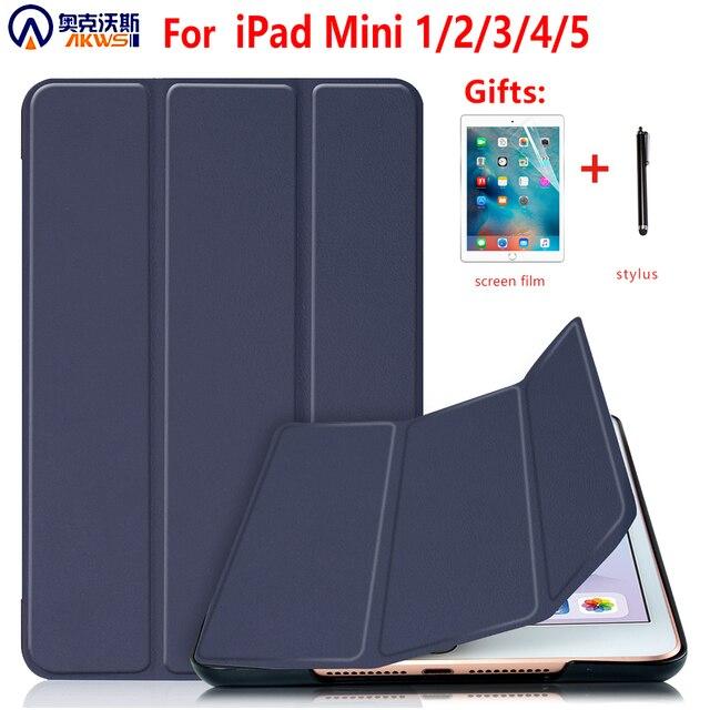 Чехол для iPad Mini 4 5 2019 с держателем для карандашей, силиконовый чехол для iPad Mini 1 2 3, чехол подставка из искусственной кожи с автоматическим спящим режимом