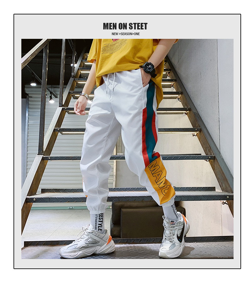 Fashion Men's Splice Joggers Pants Men Casual Cargo Pant Trousers High Street Elastic Waist Harem Pant Men Hip Hop Streetwear