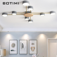 BOTIMI Nordic Designer LED Ceiling Lights With White Round Metal Lampshades Gray Art Decor Ceiling Mounted Bedroom Lightings